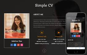 Cv Website Simple Cv A Personal Category Bootstrap Responsive Web Template