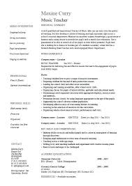 Music Teacher Resume Template