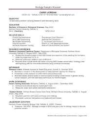 biology sample resume