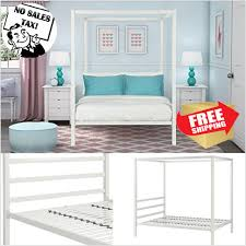 Metal Canopy Bed Frame Full Size W/ HeadBoard Platform Modern Bedroom NewM White