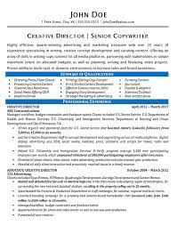 Fake Resumes Gorgeous Creative Director Resume Example Copywriter Marketing