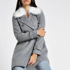 river island faux fur collar coat womens grey qleppj89ry