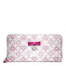 Coach    Waverly Hearts Accordion Zip With Bow