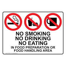 no smoking food preparation area sign nhe safe food handling zoom