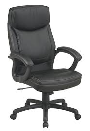 com office star high back thick padded contour seat and back eco leather executive chair with locking tilt control with 2 tone stitching