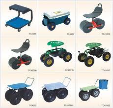 garden seat on wheels. Four Wheels Light-weight Rolling Garden Work Seat With Saddlebag TC4502B On