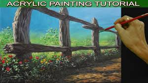 acrylic landscape painting tutorial on how to paint an old fence for beginners by jm lisondra