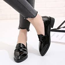 designer dress shoes women british style oxford lady spring patent leather oxfords flat heel casual footwear slip on dress dress shoes for men leather shoes