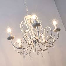 Leuchter Sophina Weiß 5 Fl Kristalle Kronleuchter Elegant