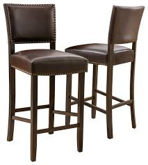brown leather bar stools. Castana Brown Leather Backed Bar Stools, Set Of 2 Stools