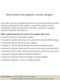 Test Engineer Resume Objective Top 8 System Test Engineer Resume Samples