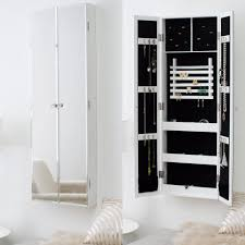 modern wall mounted white jewelry armoire with full length mirror