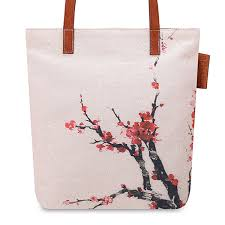 asian inspired watercolor cherryblossom fl printed canvas tote