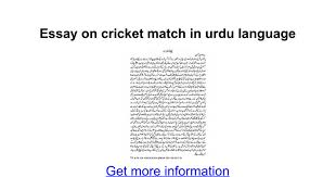 essay on cricket match in urdu language google docs