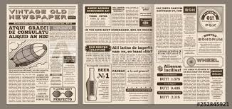 Vintage Newspaper Template Retro Newspapers Page Old News