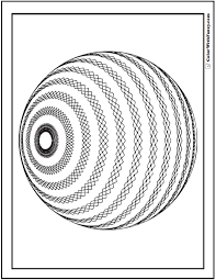 Small Picture 3D Geometric Pattern Coloring Pages Striped Sphere
