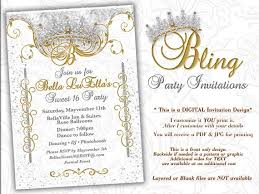 Invitations Quinceanera Bling Diamond Party Invitations Quinceanera Invitation Party Invitations Sweet 16 Party Mis Quince Anos White Gold Diamond Bling Theme