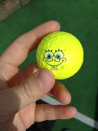 funny smiley face painting golf ball