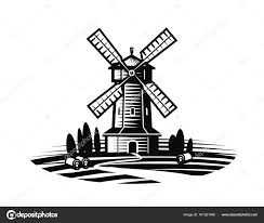 farm windmill drawing. Mill, Windmill Label Or Logo. Farm, Agriculture, Bakery, Bread Icon. Vintage Vector Illustration Isolated On White Background \u2014 By Sergeypykhonin Farm Drawing D