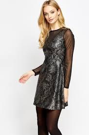 Metallic Printed Mesh Insert Skater Dress Black Gold Or Black