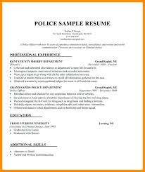 Resume For Police Officer Free Sample Law Enforcement Resumes Police Officer Resume Example