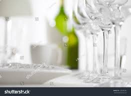 glasses table setting. Luxury Elegant Dinner Table Setting In Restaurant Or Hotel With Wine Glasses And White