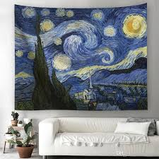 customized design 3d van gogh oil painting night space wall hanging tapestry polyester yoga mat picnic throw wall carpet wedding party gift art of tapestry  on tapestry art designs wall hangings with customized design 3d van gogh oil painting night space wall hanging
