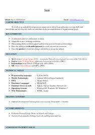 Resume For Mca Internship Sugarflesh