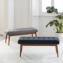 Bench for bedroom Contemporary Midcentury Bench Midcentury Bench West Elm Modern Bedroom Benches Ottomans West Elm