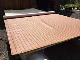 the plywood was covered in heavy duty vinyl which would hold up to moisture deck boatboat partspontoon