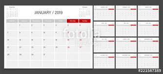 2019 Calendar Planner Set Week Start Monday Corporate Design