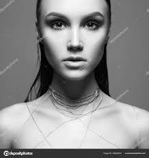 beauty make beautiful young woman makeup thread body black stock photo