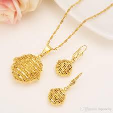 gold jewelry set pendant chain earring jewelry jpg