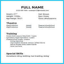 Musical Theatre Resume Template Word Music Performer Sample Special