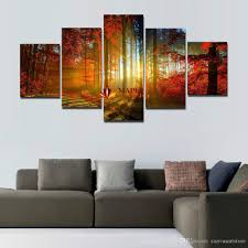 Living Room Paintings Art 5 Panel Forest Painting Canvas Wall Art Picture Home Decoration