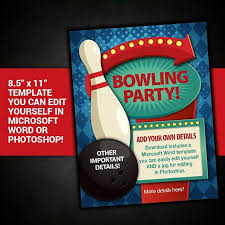 Editable Bowling Party Flyer Bowling Party Poster Bowling Party