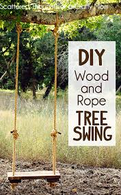 i did finally manage to talk my hubby into putting together a simple rope and wood swing for the tree once he started on it he put the swing together in