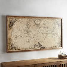 ... Wall Art, Mesmerizing World Map Wall Decor Vintage Map Wall Art In The  Wall: ...