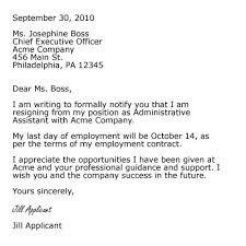 good letter of resignation formal resignation letters sample of formal resignation letter