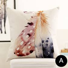 Decorative Pillows With Feather Design Unique Feather Watercolor Throw Pillows For Living Room Decorative Cushions