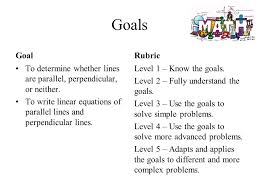goals goal to determine whether lines are parallel perpendicular or neither