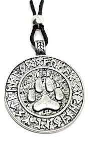 viking wolf paw pendant necklace