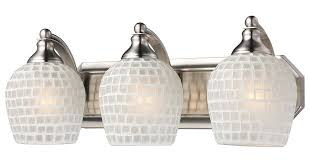 style bathroom lighting vanity fixtures bathroom vanity. Perfect Vanity Elk 5703NWHT 3Light Vanity In Satin Nickel And White Mosaic Glass  Wall  Sconces Amazoncom Throughout Style Bathroom Lighting Fixtures T