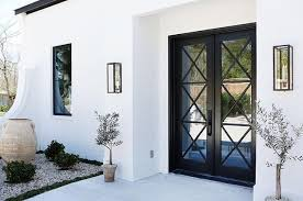 white exterior french doors. White Exterior Home With Black Accent Doors And Windows French