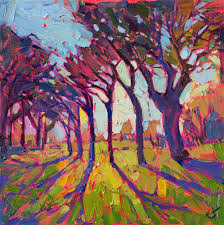 stained glass original 12x12 oil painting by erin hanson