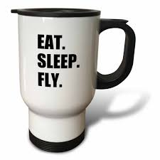 3drose eat sleep fly fun gifts for pilots flight crew and frequent flyers travel mug 14oz stainless steel walmart