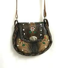 hand painted leather purses vintage tooled purse handbag