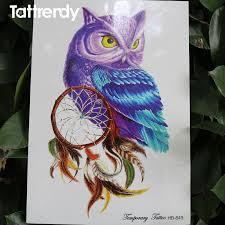 Purple Dream Catcher Tattoo 100piece Temporary Tattoo Color Owl dream catcher tattoos Stickers 91