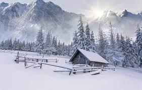 Wallpaper winter, snow, mountains, tree ...