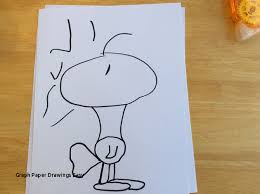Graph Paper Drawings Easy How To Draw Woodstock From Peanuts 5 Steps